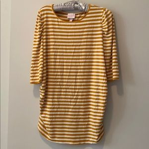 Isabel Maternity Mustard Yellow Striped 3/4 Sleeve